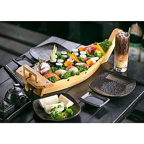 Khay Thuyền Gỗ 35cm Trang Trí Thực Phẩm Và Sushi & Sashimi Phong Cách Nhật Bản