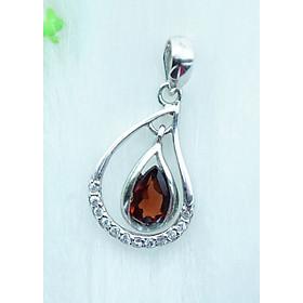Mặt dây chuyền bạc 925 đính đá Garnet ngọc hồng lựu tự nhiên kiểu sương mai MDG7