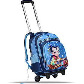 Confucius school bag primary and middle school students trolley bag children's bag men and women optional large capacity with rain cover folding backpack KS502 blue upgrade version
