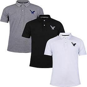 áo thun polo nam tay lỡ chính hãng dokafashion dáng thể thao nam cao cấp được thêu logo sắc xảo tông màu cơ bản -combo 3 áo xám trắng đen - DBM307