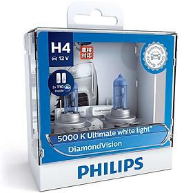 Hộp 2 Bóng Đèn Pha Xe Hơi Philips DiamondVision H4 12342DVSL 12V 60/55W 5000K - Hàng Chính Hãng