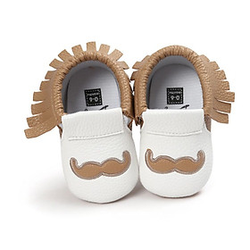 Fashion Fringe Baby Grils Autumn Kids Mustache Pattern Anti-skid Soft Slip on First Walkers Shoes