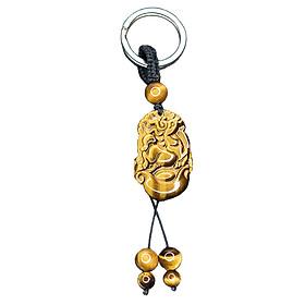Móc khóa 12 Con Giáp đá Mắt Hổ Vàng tự nhiên - Tuổi Ngọ | MKTIGYNGO07 VietGemstones