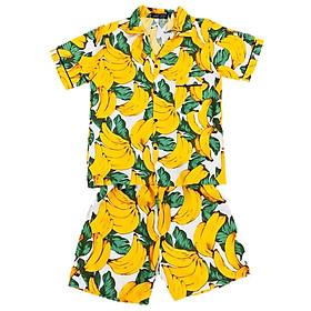 Đồ Mặc Nhà Ngắn Pijama Thái Vải Kate Họa Tiết Chuối Pijama240605 - Vàng Phối Trắng