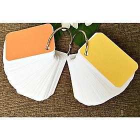 200 thẻ flashcard trắng 5x8cm bo góc siêu dày phong cách mới tặng kèm +bìa cứng 3D học ngoại ngữ