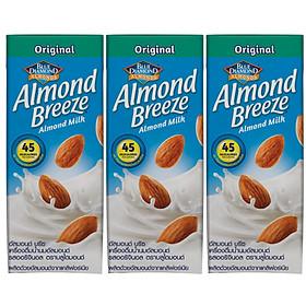 Lốc 3 sản phẩm Sữa hạt hạnh nhân ALMOND BREEZE NGUYÊN CHẤT 180ml - Sản phẩm của TẬP ĐOÀN BLUE DIAMOND MỸ - Đứng đầu về sản lượng tiêu thụ tại Mỹ