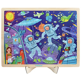Mideer Puzzle Space Adventure Bộ xếp hình gỗ 100 miếng chủ đề Khám phá không gian