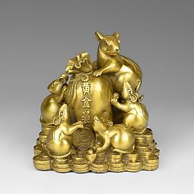 Tượng đàn chuột ôm túi tiền ngũ thử thần tài bằng đồng thau phong thủy Tâm Thành Phát