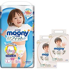 Tã Quần Cao Cấp Moony Nhật Bản bé gái L44 [Tặng 8 miếng Moony Natural cùng size]