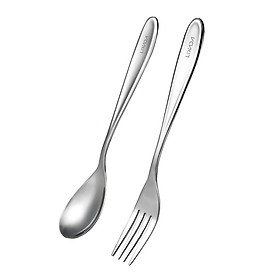 Lixada Titanium Spoon Fork Cutlery Set Lightweight Full Length Dinner Fork Spoon Home Outdoor Camping Hiking Backpacking (Spoon & Fork)