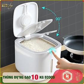 Thùng đựng gạo thông minh ECOCO - E2005 - Thiết kế dạng nhấn nút - Chống kiến - Chống ẩm - Chống mọt - Chất liệu ABS cao cấp+ 01 Vỉ móc Vàng Tài Lộc + 04 Khăn lau siêu thấm