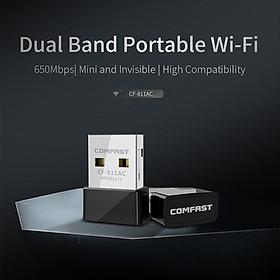 Thẻ Mạng Không Dây Comfast Cf-812Ac Mini Usb 3.0, Bộ Thu Tín Hiệu Wifi Dongle Ethernet 1300Mbps, Băng Tần Kép 802.11 B/G/N 5.8/2.4Ghz