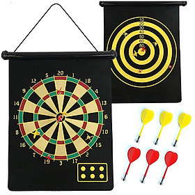 The 12-Inch Magnet 2-Sided  Dart Board With 4 Non-Pointed  Darts Included NC12