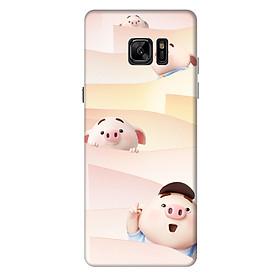 Ốp lưng nhựa cứng nhám dành cho Samsung Galaxy Note FE in hình Heo Con Tò Mò