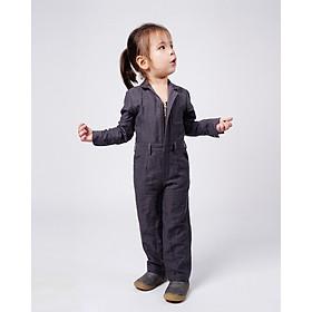 Jumpsuit Trẻ em Unisex_ Yvette LIBBY N'guyen Paris_VOYAGER_Màu Xám (Volcanic Glass), Vải lanh cao cấp viền cotton lụa Ý