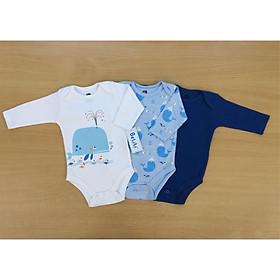 Set 3 body dài tay cho bé sơ sinh, quần áo thu đông mẫu cá voi xanh cho bé