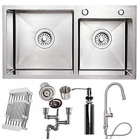 Hình đại diện sản phẩm Combo bộ chậu rửa bát 2 hố RANOX và vòi rửa chén rút dấy 2 đường nước RN46707