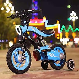 Xe đạp trẻ em A283 size 12-14-16inch, cho bé trai gái từ 2-8 tuổi, siêu bền, có đèn chiếu sáng, bánh phụ, giảm sóc thể thao, nhiều màu đỏ, trắng, xanh cho bé