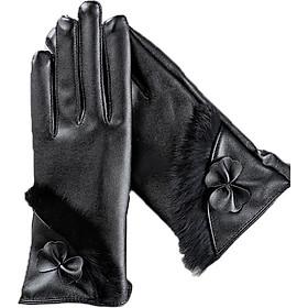 Găng tay da nữ cảm ứng giữ ấm mùa đông họa tiết dải lông GTDNCK02