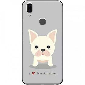 Ốp lưng dành cho Vivo V9 mẫu Chó bulldog nền xám