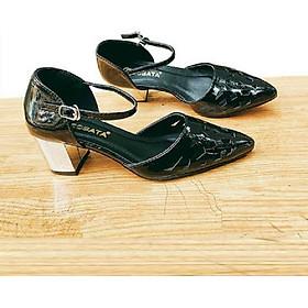 Giày cao gót nữ đẹp đế vuông 5 phân hàng hiệu rosata màu đen za05