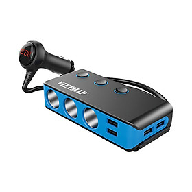 Bộ Chia Nguồn Ô tô An Toàn VietMap VM71 Cao Cấp – Bộ Chia 3 Tẩu Thuốc 4 Cổng Sạc USB