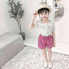 Set áo hoa và quần short thắt nơ hồng Quảng Châu 18 đến 28 kg cho bé gái 01795