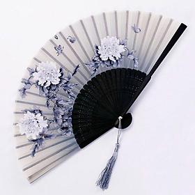 Quạt cổ trang dây tuyến XÁM MẪU ĐƠN vải lụa xếp cầm tay quà tặng Trung Quốc xinh xắn