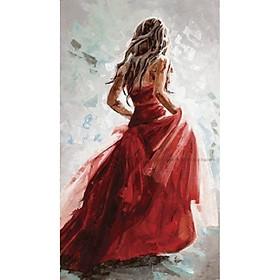 Tranh sơn dầu họa sỹ sáng tác vẽ tay: RED LADY 2