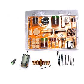 Combo Motor 335 12V kèm 10 Đầu Kẹp, 12 Mũi Khoan Mini, 105 Món Đồ Nghề Phụ Kiện Cho Khoan Điện Mini Cầm Tay