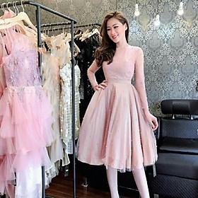 Đầm xoè dự tiệc tay dài TRIPBLE T DRESS -size M/L (kèm ảnh/video thật)MS41V