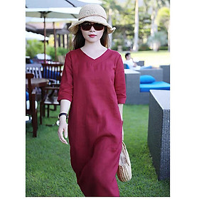 Đầm suông linen tay lỡ kèm đai rời ArcticHunter, thời trang thương hiệu chính hãng - Đỏ đô