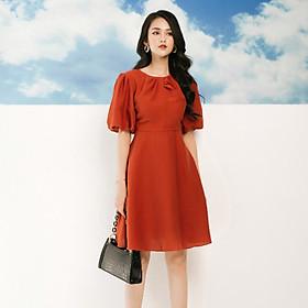 Đầm Dáng Xòe Cổ Tròn Tay Bồng Lỡ Màu Cam Đỏ V006 Vải Đũi Nhật Siêu Mềm Siêu Nhẹ  Đầm Công sở Dự Tiệc Đi Chơi