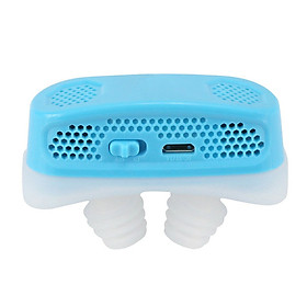 Micro CPAP Anti Snoring Electronic Device for Sleep Apnea Stop Snore Aid Stopper blue