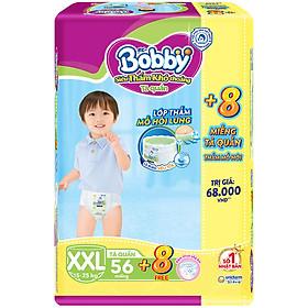 Tã quần Bobby - Đệm Lưng Thấm Mồ Hôi XXL56 (56 miếng) - Tặng 8 miếng trong gói