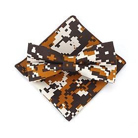Bộ sản phẩm cà vạt thòi trang cho bé trai , nơ bướm  đeo cổ và khăn tay  sọc chấm vàng xám 03