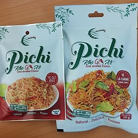 Combo 3 gói khô gà xé vị cay 25g và 3 gói vị lá chanh đặt biệt 50g Pichi