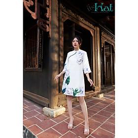 Đầm gấm in Tết