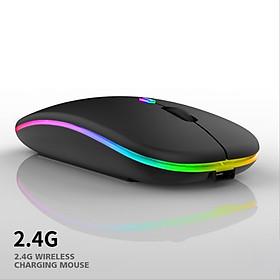 Chuột không dây A2 Pro, chuột máy tính không tạo tiếng ồn, sạc được pin, hiệu ứng đèn Led RGB- Hàng nhập khẩu