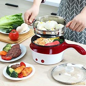 Ca Nấu Mì, Nồi Nấu Cơm Đa Năng Có Tay Cầm size 18cm - Nồi Lẩu Điện Mini Kèm Giá Hấp inox đa dụng