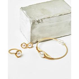 Bộ vòng tay bông tai & nhẫn ngọc trai trắng bạc mạ vàng độc đáo- Cami.J