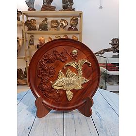 Dĩa Gỗ Mạ Vàng - Hình Cá Chép - Xuất Xứ: Chư-Sê, Gia Lai - KT: 28*27cm - TL: 0.5kg - Trang Trí Nhà Cửa - Đá & Gỗ - G111