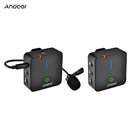 Andoer MX5 2.4G Wireless Recording Microphone System with Transmitter Receiver Clip-on Lavalier Mic 50M Effective Range