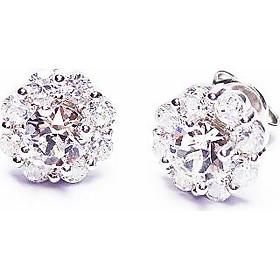 Keely Valda Trang sức bông tai bạc hoa mạ bạch kim đá Swarovski