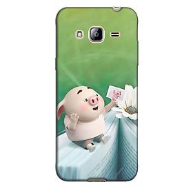Ốp lưng nhựa cứng nhám dành cho Samsung Galaxy J3 2016 in hình Heo Ngắm Ảnh