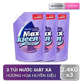 Combo 3 Túi Nước Giặt Xả Maxkleen Hương Nước Hoa Huyền Diệu (2.4kg/túi)