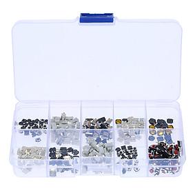 10 Loại Nút Bấm Bộ Chuyển Đổi Tạm Thời Vi Mô Cùng Bộ Hộp Nhựa Đựng (250 Cái) - Nhiều Màu