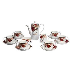 Bộ tách trà Sứ xương 15 món Bone Porcelain 15H (Bình 600ml, tách 200ml) (Nhiều hoa văn)