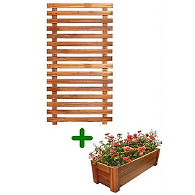 Bộ 1 Khung giàn gỗ ngang & 1 chậu gỗ chữ nhật GREENHOME- Giúp trang trí ban công, sân vườn - chịu mọi thời tiết,lắp đặt dễ dàng