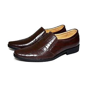 Giày mọi nam da bò thật đường may tỉ mỉ chắc chắn được dập vân cá sấu lịch lãm, đế cao su ép nhiệt siêu bền - HSM002
